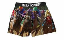 Men's Fun Silk Pajama Boxer Shorts Horse Racing And Jockey By Brief Insanity