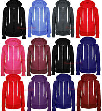 Womens Ladies Plain Coloured Zip Up Hooded Fleece Hoodie Sweatshirt Hoody Jacket