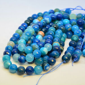 Faceted agate blue rainbow beads, 10mm for jewellery making by Pearls Direct