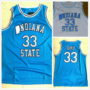 VTG Larry Bird #33 Indiana State College Basketball Jersey Stitched S-3XL
