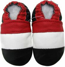 carozoo soft sole leather baby shoes red white black 6-12m