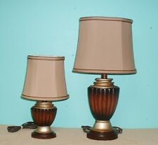 Lamps Table ceramic browns tan gold trim cloth shades gold braid trim on/off