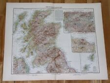 1908 LARGE ANTIQUE MAP OF SCOTLAND ORKNEYS HEBRIDES HIGHLAND ARGYLE SKYE