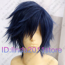 stunning short women's Dark Blue Black Mixed hair wigs Cosplay Wig + Wig cap