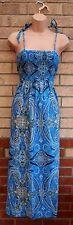 PAPAYA BLUE WHITE STRAPPY PAISLEY PRINT BOHEMIAN SUMMER LONG MAXI DRESS 14 L