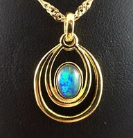 Aus Triplet Opal Necklace and Pendant Circle Hoop Twice 18ct Gold Plated w Cert