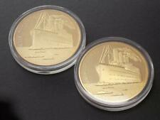 Two RMS Titanic  Gold Plated Commemorative Coins  Journey White Star Line