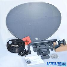 Freesat / Sky 80cm zone 2 satellite dish & quad lnb + 50m Twin black install kit