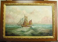 Charles Mattlings 1910 Marine Boat of Peach Fishing Boat Fishermans Paint Hst