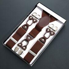 Men 35mm Wide Braces Y-Back Elastic Trousers Suspenders 6 Clips Adjustable