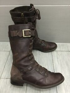 LADIES BROWN LEATHER TIMBERLAND SAVIN HILL MILITARY COMBAT MID BOOTS, UK 6