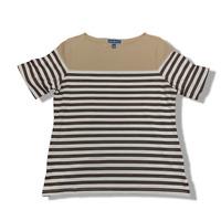 New, $37 Value! KAREN SCOTT 2X Brown Striped Boat Neck Rolled Cuff Knit Top