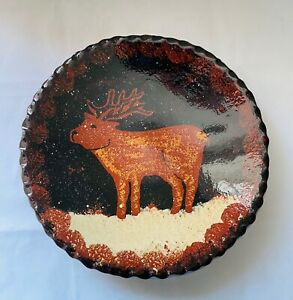 Ned Foltz Pottery Redware Reindeer Plate/Bowl 1999 - RARE