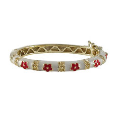 White Enamel with Red Flowers Gold-Plated Baby Girls Kids Bangle Bracelet 42mm