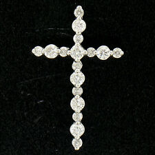 NEW Ladies 18k White Gold .65ctw 17 Round Prong Set Diamond Petite Cross Pendant