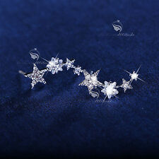 18k gold filled clear crystal star stud ear climbers 925 silver post earrings
