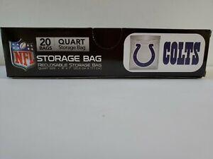 NEW Indianapolis Colts 20 Count Quart Reclosable Storage Bags Press to Close NFL