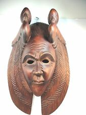 Guatemala Maya folk art carving  Wood Mask Hand detailed Mayan chief with birds