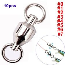 10Pcs Super Strong Fishing Connector Double Rings Hook Ball Bearing Swivel Rings