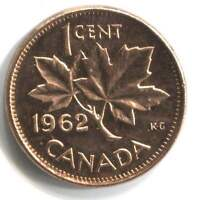 1962 Canadian 1 Cent Maple Leaf Penny Coin - Canada - Uncirculated