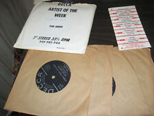 "TONY ARDEN LOT OF 5 PROMOTIONAL 7"" 33 RPM SINGLES WITH 5 SETS OF TITLE STRIPS"