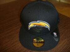 various colors 73522 b8ad5 LOS ANGELES CHARGERS NEW ERA 59FIFTY NFL BLACK TEAM FITTED HAT SIZE 7 3 8
