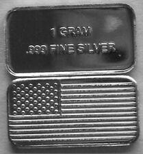 (5) 1 GRAM 0.999+ PURE SILVER AMERICAN FLAG BARS