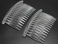 12 Clear Plastic Hair Clips Side Combs Pin Barrettes 80X50mm for Ladies Craft