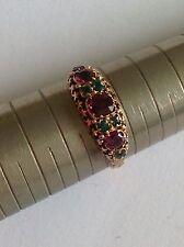 Attractive Victorian 15ct Gold Almandine Garnet & Emerald Set Ring
