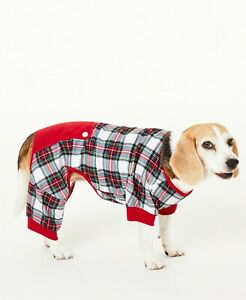 Family Pajamas Pet Dog PJ, Stewart Plaid (Red/White/Green), XL