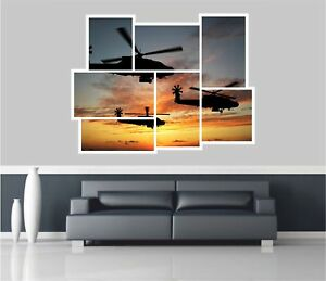 Huge Collage View Army Apache Attack Helicopters Wall Stickers Mural 665
