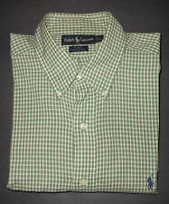 RALPH LAUREN BLAKE GREEN/WHITE FINE PLAIDS DRESS SHIRT PRL4220