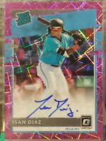 ISAN DIAZ MIAMI MARLINS 2020 OPTIC RATED ROOKIE PINK VELOCITY PRIZM RC AUTOGRAPH