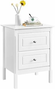 Bedside Table 2 Drawers Nightstand, White 48 x 40 x 61cm Yaheetech