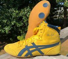Vintage ASICS Dan Gable Classic Wrestling Shoes Size 9 Yellow / Blue Tiger Rare