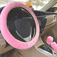 Plush Fur Fluffy Car Steering Wheel Cover Handbrake Cover Gear Knob Cover PINK