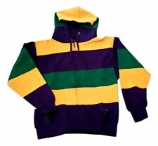 Mardi Gras Stripe Purple Green Yellow Knit XL Adult XLarge Hoodie Zip Up Jacket