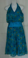 LAUNDRY BY SHELLI SEGAL WOMENS BLUE FLORAL SILK HALTERNECK DRESS SIZE:6/34(WD74)