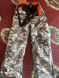 Next Sallopettes Ski Pants Braces Kids Waterproof Trousers 11-12 Camouflage Grey