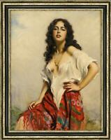 "Hand-painted Old Master-Art Antique Oil Painting girl lady on canvas 24""X36"""