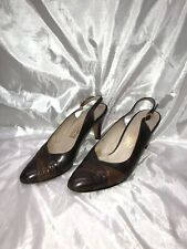 Vintage Salvatore Ferragamo 'Astrale' Pumps | Sz 7B Aa Brown Leather w/Orig Box