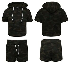 Ladies Short Tracksuit Army Camouflage Womens Girls Shorts Cropped Hooded Bottom