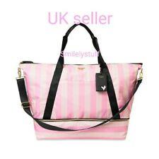 🧳Genuine VICTORIA'S SECRET Signature  Pink Stripe Weekender Tote Bag RRP £95 🌎