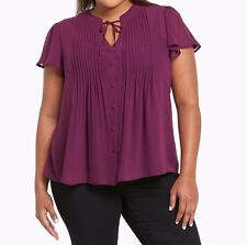 Torrid Pleated Chiffon Tie Front Top Purple 4X 26 4 #76811