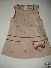 NWT Gymboree Cherry Pie Khaki Jumper Dress 18-24