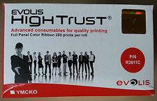 Evolis R3011 5 panel YMCKO colour ribbon 200 prints for pebble, dualys, securion