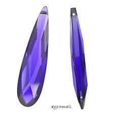 1PC Cubic Zirconia Flat Teardrop Pear Briolette Bead 9x36mm Purple #64362