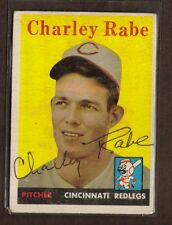 1958 TOPPS #376 CHARLEY RABE REDS PITCHER SIGNED CARD AUTO