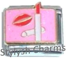 Makeup Red Lipstick Enamel Italian Charm 9mm Link- 1x Nc274 Single Bracelet Link
