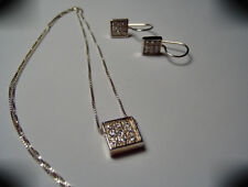 """Sterling Silver Clear Cubic Zirconia Necklace & Earring Set w/18"""" SS Box Chain"""